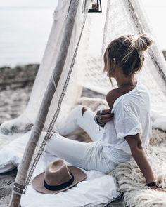 White washed fashion, boho inspired beachside teepee set up