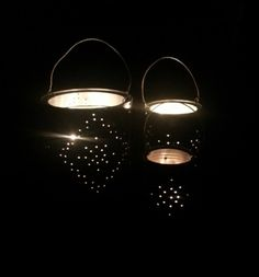 Make these recycled tin can lanterns to add a little holiday twinkle to your front porch. Fun Ideas, Craft Ideas, Tin Can Lanterns, Tin Cans, Diy Pins, Christmas Diy, Holiday, Tin Boxes, Lawn And Garden