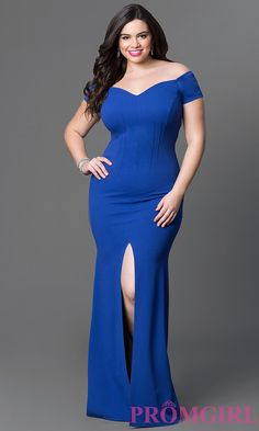 Image of long off-the-shoulder plus-size jersey dress. Detail Image 2
