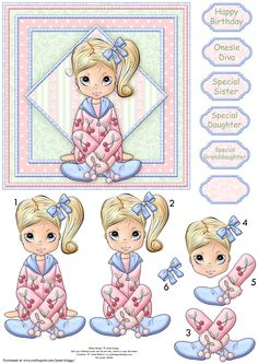 - Teenage girl card topper with step by step decoupage. Features sweet girl in onesie. Several sentiment tags, including. Ace Card, Image 3d, Decoupage Printables, 3d Sheets, 3d Paper Crafts, 3d Cards, 3d Prints, Decoupage Paper, Scrapbook Cards