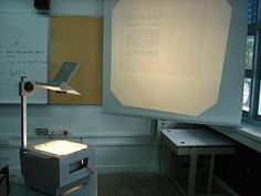 Over head projector. Overheads helped teachers teach class as an entirety.