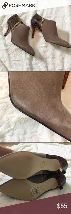 "New! MICHAEL Michael Kors Women's Clara Mid Bootie New in box MICHAEL Michael Kors Women's Clara Mid Bootie  Suede Synthetic sole Shaft measures approximately 2.5"" from arch Zipper closure. Suede upper. Pointed-toe silhouette. Reptile-embossed detail. Leather lining. Lightly padded leather footbed. Wrapped heel. Man-made sole. Heel Height: 2 3⁄4.    Floor model suede shows some wear. - see pics MICHAEL Michael Kors Shoes Ankle Boots & Booties"