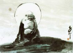 Bodhidharma in a pure Mushin moment Sumi-e paint