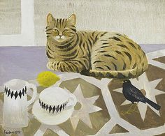 'Striped Cat And Blackbird' By Mary Fedden, 1992