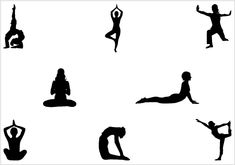 Yoga Silhouette Yoga Pose of Standing & SittingSilhouette Clip Art