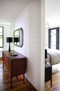white painted wood walls