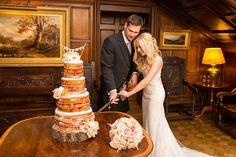 Naked wedding cake bunting topper vintage tree stump cake base Dundas Castle