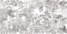 Papier peint Jungle Tropical Noir et Blanc Big Panoramique