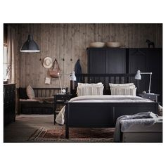 IKEA HEMNES bed frame Made of solid wood, which is a hardwearing and warm natural material. Full Bed Frame, King Bed Frame, Black Bedroom Furniture, Bedroom Decor, Ikea Bedroom, Hemnes Bed, Ikea Family, Bed Slats, 139