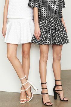 Black & white - Flirty skate skirts & ankle straps
