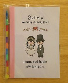 Personalised Bride and Groom Childrens Kids Wedding Activity Pack Book Favour