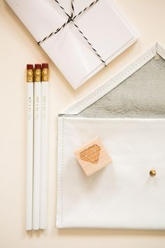 You're a Gem git set: 10 blank notecards and envelopes, three You're a Gem pencils, gem rubber stamp and leather pencil pouch by Rabbit Foot Fern Design, available exclusively on BRIKA. Rabbit Foot Fern, Stamp Printing, Pencil Pouch, Sweet Notes, Pen And Paper, Writing Paper, Paper Cards, Leather Clutch, Geometric Shapes