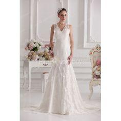 Gorgeous Ivory Lace V-neck Chapel Train Mermaid Wedding Dress $215.99