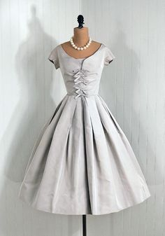 1950's, Adele Simpson Designer-Couture, Elegant Dove-Grey Silk, Princess Bow-Tie, Circle-Skirt, Cocktail Dress
