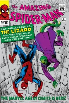 The Amazing Spider-Man featuring the first appearance of Dr Curt Connors, otherwise known as the Lizard. Cover by Steve Ditko. Amazing Spider Man Comic, Amazing Spiderman, Spiderman Comic Books, Comic Books Art, Comic Art, Spiderman 3, Reptiles, Marvel E Dc, Marvel Universe
