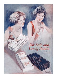 For soft and lovely hands use Erasmic Soap. #vintage #1930s #beauty #ads