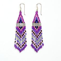 Sterling Silver, Delica Seed Bead Earrings, Bead Woven Earrings, Native American Style. £23.00, via Etsy.