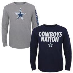 49bd27192444 Youth Dallas Cowboys Navy Gray Long Sleeve T-Shirt 2-Pack