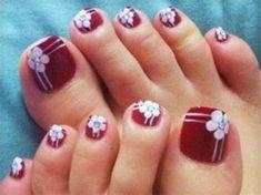 Toenail Art Designs, Pedicure Designs, Best Nail Art Designs, Manicure E Pedicure, Nail Polish Designs, Pedicures, Nails Design, Flower Toe Nails, Gel Toe Nails