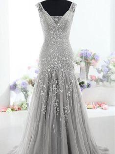 Mermaid V-neck Floor-Length Tulle Gray Prom Dresses With Beading HX00135