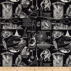 Sew Scary Small Halloween Motifs Black from @fabricdotcom  Designed by J. Wecker Frisch for Quilting Treasures, this cotton print fabric is perfect for quilting, apparel, crafts, and home decor items. Colors include black and white.