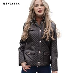 MS VASSA Spring jacket Women quilting short cotton padded solid color plus size happy size high quality warm outerwear Trendy Fashion, Fashion Outfits, Womens Fashion, Ladies Fashion, Affordable Fashion, Spring Jackets, Cotton Pads, Mom Outfits, Outerwear Jackets