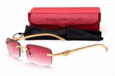 #Cartier #Red lens panther sunglasses - Rimless frame golden