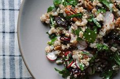 Radish and Pecan Grain Salad - Food 52 (Lunch Vegan Vegetarian Vegetables Fruit Gluten Salads Limes Shallots Pecans Arugula Walnut oil Fresh. Detox Recipes, Salad Recipes, Clean Eating, Healthy Eating, Healthy Grains, Healthy Lunches, Healthy Treats, Healthy Food, Vegetarian Recipes
