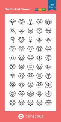 Florals And Flower Icon Pack - 50 Line Icons - Nature - Florals And Flower Icon Pack – 50 Line Icons - Simple Flower Drawing, Flower Pattern Drawing, Floral Drawing, Leaf Drawing, Mini Drawings, Pencil Art Drawings, Doodle Drawings, Doodle Art, Mehndi Art Designs