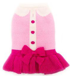 Cute Lady Knit Dog Sweater Dress