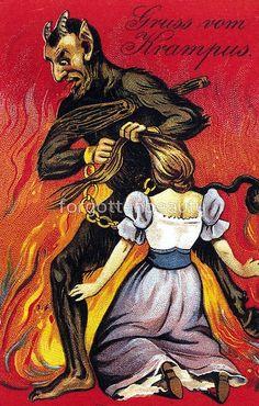 "Creepy Krampus: 30 Vintage Postcards of the ""Devil Santa Claus From Europe"" That Will Haunt Your Dreams Vintage Bizarre, Creepy Vintage, Vintage Halloween, Rick Genest, Bad Santa, Satanic Art, Diane Arbus, Magritte, Pulp Fiction"