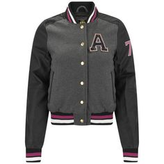 Brave Soul Women's Pendant Varsity Jacket ($12) ❤ liked on Polyvore featuring outerwear, jackets, tops, coats, shirts, grey, varsity bomber jacket, varsity jacket, striped jacket and stripe jacket