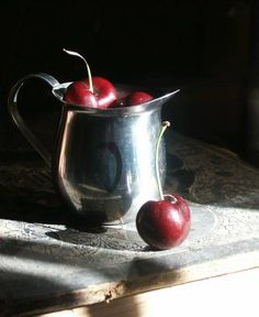 Cherries in Silver Creamer from Ponting at Wet Canvas