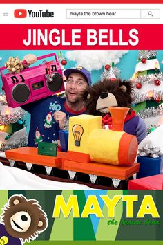 Sing Jingle Bells with Mayta and B! Watch as the Idea Train brings in Pinky The Boom Box with Santa's sleigh bells! MAYTA The Brown Bear features educational learning videos for children. Baby Learning Videos, Toddler Learning, Toddler Activities, Christmas Music For Kids, Christmas Jingles, Choo Choo Train, Educational Videos, Kids Songs, Christmas Activities