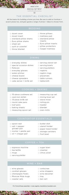 Your Essential Wedding Registry Checklist  Weddings Wedding And Future