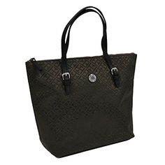 Tommy Hilfiger is the pinnacle of fashion and design. This large tote bag has a zipper closure and has a TH jacquard pattern. Stay fashionable this season with Tommy Hilfiger. Tommy Hilfiger Handbags, Black Tote Bag, Beige, Zipper, Brown, Large Tote, Image Link, Closure, Awesome