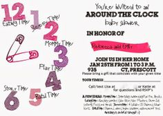 around the clock baby showers | Around the Clock Baby Shower for a Girl!