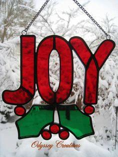 Joy Leaded Stained Glass Christmas Window by OdysseyCreations, $34.95