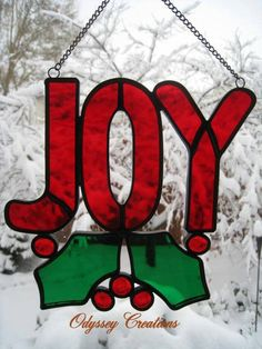 Joy Leaded Stained Glass Christmas Window by OdysseyCreations, $34.95