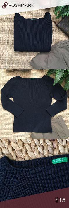 """BENETTON Navy Ribbed Sweater Benetton navy boatneck sweater. Chest: 14 3/4"""". Length: 20"""". Looks great with shirt underneath or chunky necklace. Please, ask any questions before purchasing. United Colors Of Benetton Sweaters Crew & Scoop Necks"""