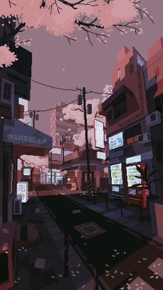 waneella is creating pixel art – Best of Wallpapers for Andriod and ios Anime Scenery Wallpaper, Aesthetic Pastel Wallpaper, Aesthetic Backgrounds, Aesthetic Wallpapers, Wallpaper Backgrounds, Wallpaper Art, Live Wallpaper Iphone, Kawaii Wallpaper, Wallpaper Awesome