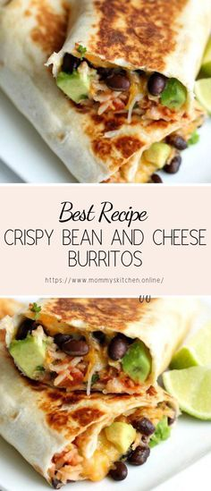 Crispy Bean and Cheese Burritos from Six Sisters Stuff Stuffed with beans cheese cilantro avocado and lime this quick easy dinner recipe is a winner Dinner Ideas for Picky Eaters Family Favorite Meatless Meals Healthy Diet Recipes, Mexican Food Recipes, Vegetarian Recipes, Vegetarian Burrito, Quick Vegetarian Dinner, Easy Cooking, Healthy Cooking, Cooking Recipes, Meal Recipes