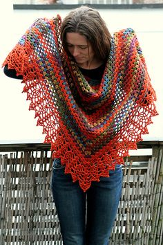The original half granny square shawl, finished with a Doris Chan lace edging. Both are free crochet patterns.