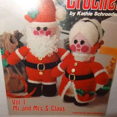 Christmas Crochet Mr and Mrs Santa Claus Booklet 3 Craft Doll Pattern  #AmericanSchoolofNeedlework
