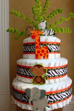 Jungle diaper cake