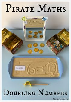 Pirate Maths Doubling Numbers.   A simple way to teach and reinforce how to double a number. Ideal for Reception, Year One, Kindergarden or hands on learning at home. Pirate themed maths.