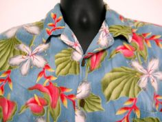 Hilo Hattie Hawaiian Shirt XL Mens Blue Cotton Green Leaves Pink Yellow Flowers