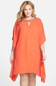 Vince Camuto Embellished Neck Chiffon Handkerchief Hem Dress (Plus Size) available at #Nordstrom