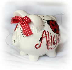 Personalized ladybug piggy bank any colors by Momyslittleartcorner, $22.99
