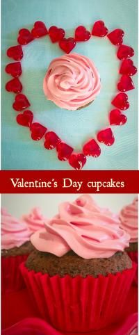 Pink frosting chocolate cupcakes on MyRecipeMagic.com Valentine's Day chocolate cupcakes with pink frosting, a sweet way of saying I love you!